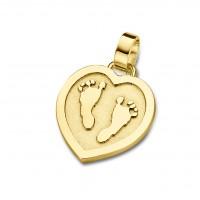 pendant, anhänger, hanger, footprint, Fussabdrück, voetafdruk, tiny hart, heart, gold, goud, yellow,