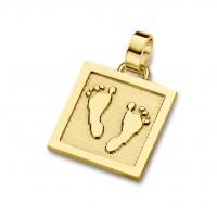 pendant, anhänger, hanger, footprint, Fussabdrück, voetafdruk, unique, gold, goud, yellow, geel,