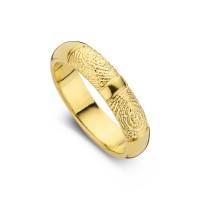 Damering Love guld med dobbeltaftryk bredde 5,5mm