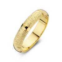 Herrering Love guld med dobbeltaftryk bredde 6,5mm
