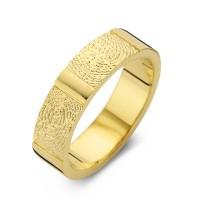 Herrering True guld med dobbeltaftryk bredde 6,5mm