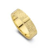 Damering True guld med dobbeltaftryk bredde 5,5mm