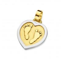 pendant, anhänger, hanger, footprint, Fussabdrück, voetafdruk, tiny hart, heart, gold, goud, yellow, white,