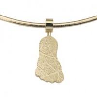pendant, anhänger, hanger, footprint, Fussabdrück, voetafdruk, step, gold, goud, yellow, geel
